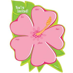 Tropical Flower Invitations 50ct