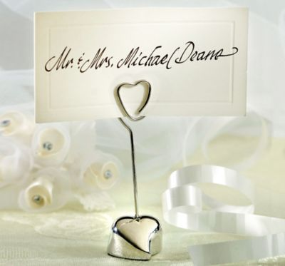 Silver Heart Place Card Holder 3 1/4in | Party City