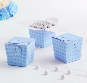 Plaid Blue Baby Shower Favor Pails 12ct