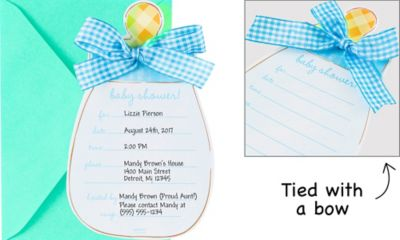 Blue Baby Bottle Jumbo Invitations 8ct