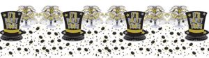 Black, Gold & Silver New Year's Table Decorating Kit 11pc