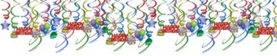 Balloon Fun Happy Birthday Swirl Decorations 50ct