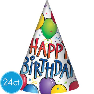 Balloon Fun Happy Birthday Party Hats 24ct