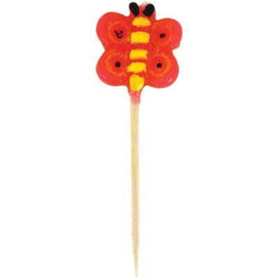 Red Butterfly Candle Pick