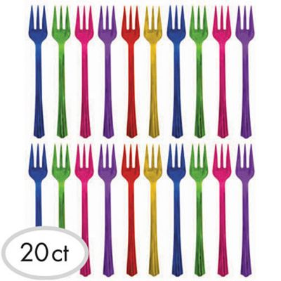 Jewel Tone Cocktail Forks 20ct