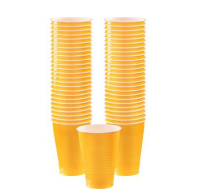 BOGO Sunshine Yellow Plastic Cups 12oz 50ct