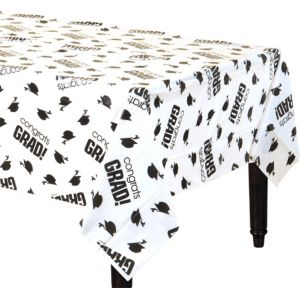 Congrats Grad White Graduation Plastic Table Cover