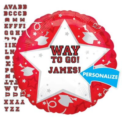 Red Graduation Balloon - Personalized