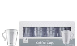 CLEAR Premium Plastic Coffee Mugs 16ct