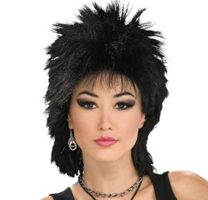 80s Rock Idol Black Wig