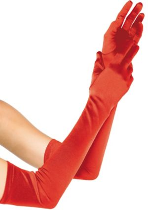 Adult Extra Long Red Satin Gloves