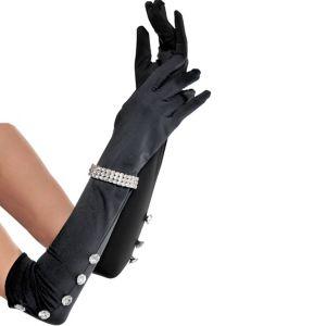 Long Satin Rhinestone Gloves