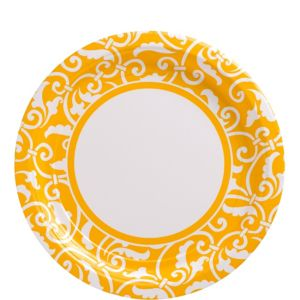 Sunshine Yellow Ornamental Scroll Lunch Plates 8ct