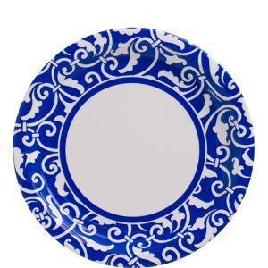 Royal Blue Ornamental Scroll Lunch Plates 8ct