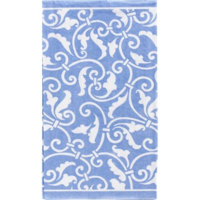 Pastel Blue Ornamental Scroll Guest Towels 16ct