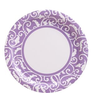 Lavender Ornamental Scroll Lunch Plates 8ct