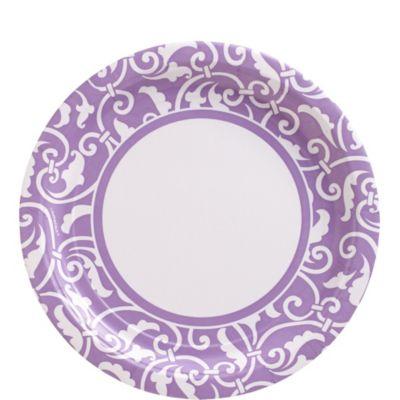 Lavender Ornamental Scroll Lunch Plates 8ct