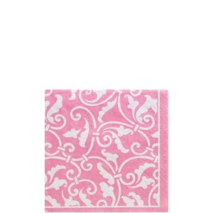 Pink Ornamental Scroll Beverage Napkins 16ct