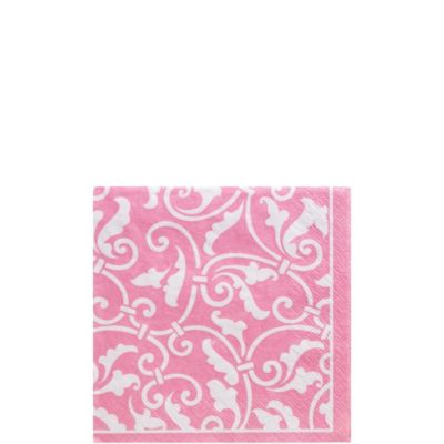 Pink Ornamental Scroll Beverage Napkins 16ct