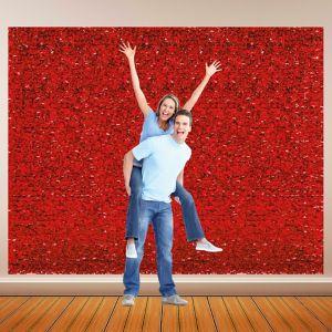 Red Metallic Floral Sheeting