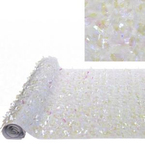 White Iridescent Floral Sheeting