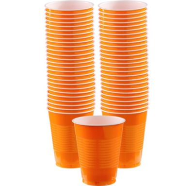 BOGO Orange Plastic Cups 16oz 50ct