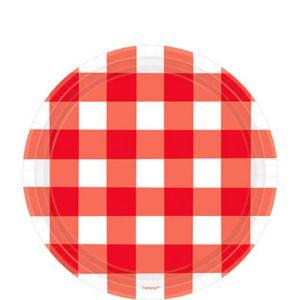 American Summer Red Gingham Dessert Plates 8ct