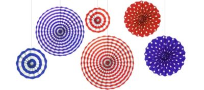 Red, White & Blue Paper Fan Decorations 6ct