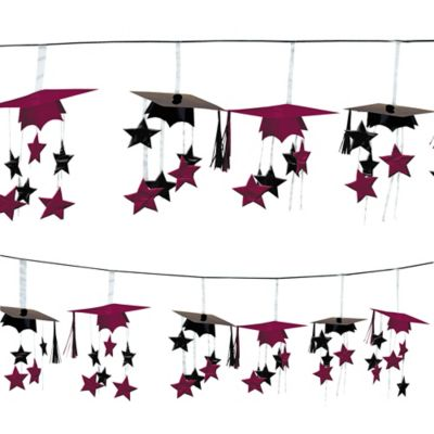 Berry 3D Grad Cap Graduation Garland