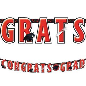 Red Graduation Letter Banner