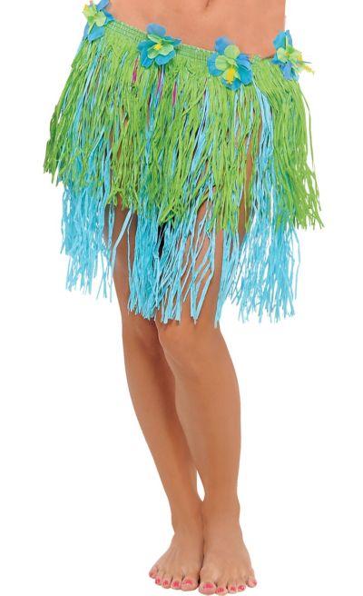 Adult Blue & Green Mini Hula Skirt