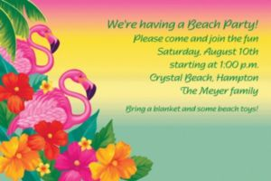 Custom Flamingo Beach Luau Invitations