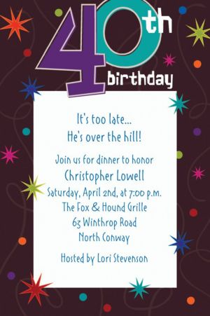 Custom The Party Continues 40th Birthday Invitations