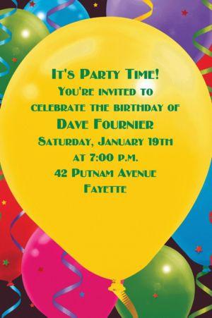 Custom Balloon Celebration Birthday Invitations