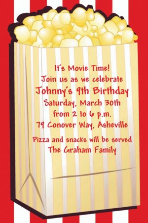 Custom Fresh Popcorn Hollywood Invitations