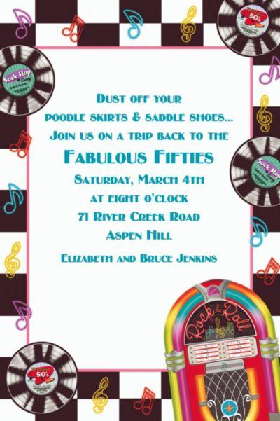 Custom Sock Hop Invitations Party City