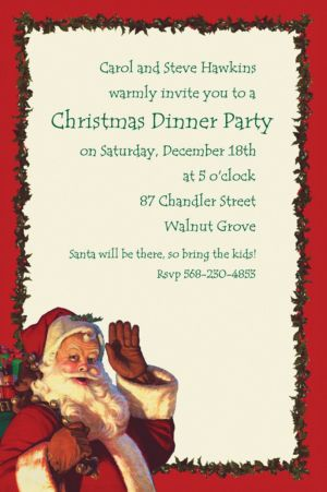 Custom Jolly St. Nick Christmas Invitations