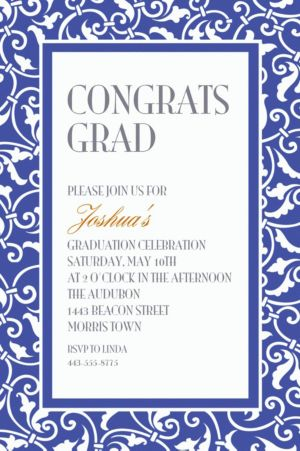 Custom Royal Blue Ornamental Scroll Invitations