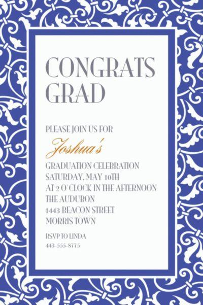 Custom Royal Blue Ornamental Scroll Invitations