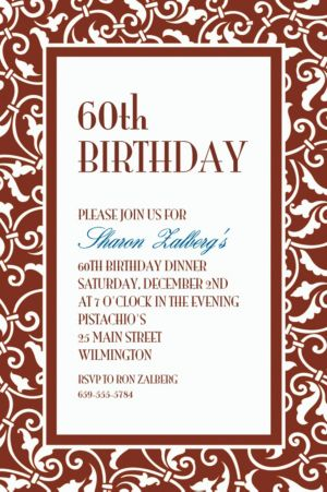 Custom Chocolate Brown Ornamental Scroll Invitations