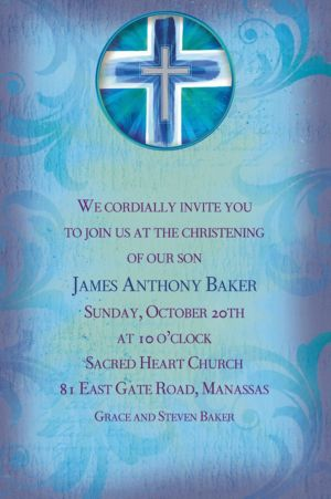 Custom Joyous Cross Blue Invitations