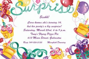 Custom Surprise with Gifts and Cakes Invitations