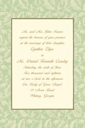 Custom Sage Damask Ecru Invitations