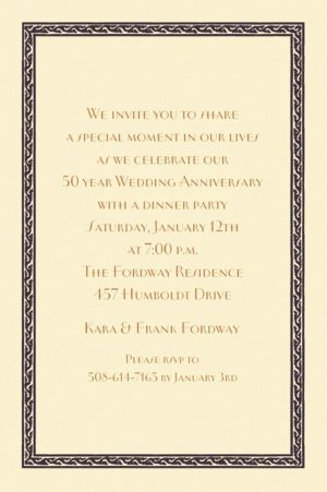 Custom Black Tapestry Border Ecru Invitations