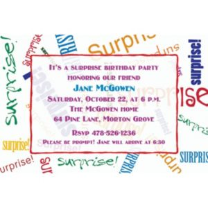 Custom Surprise Fonts Invitations