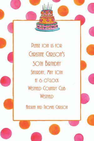Custom Girly Cake With Dots Birthday Invitations