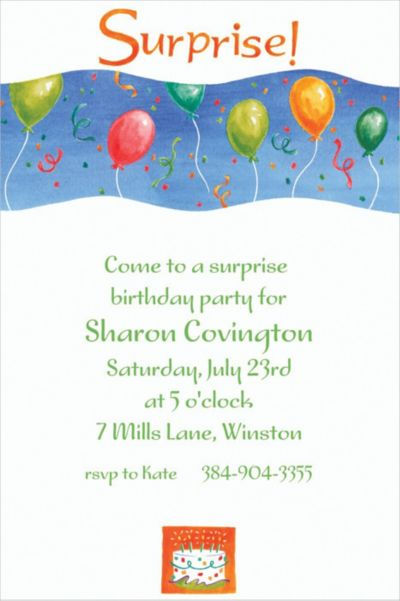 Custom Surprise with Balloons Invitations