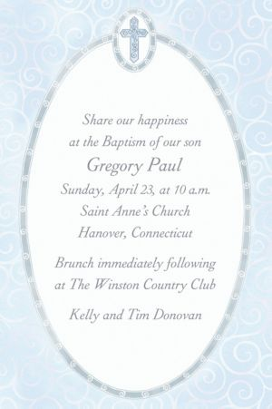 Custom Blue Cross with Filigree Invitations