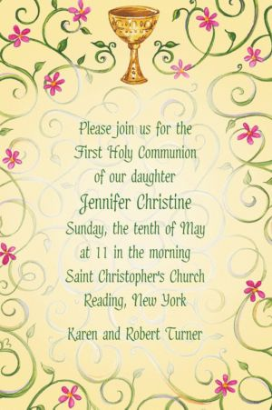 Custom Chalice with Spring Flowers Invitations