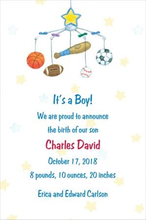 Custom Sporty Mobile Birth Announcements